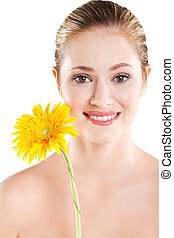 smiling woman portrait with flower