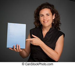 Smiling Woman presenting a blank box