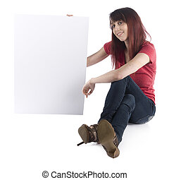 Smiling Woman Showing Cardboard with Text Space