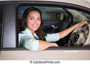 Smiling woman sitting at the wheel