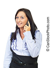 Smiling woman speaking at cellphone