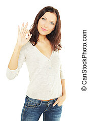 Smiling woman student with ok sign