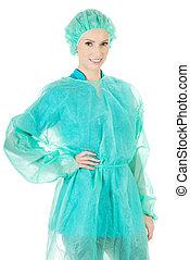 Smiling woman surgeon doctor.