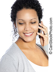 Smiling woman talking on her phone