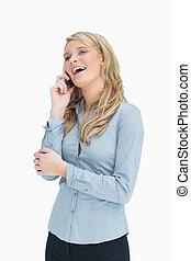 Smiling woman talking