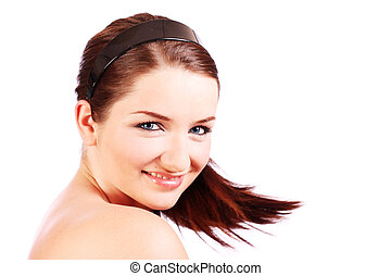 Smiling woman turning her head