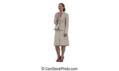 Smiling woman using a virtual screen