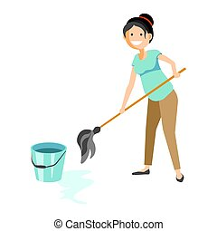 Smiling woman washing floor