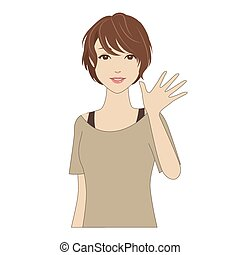 Smiling woman waving