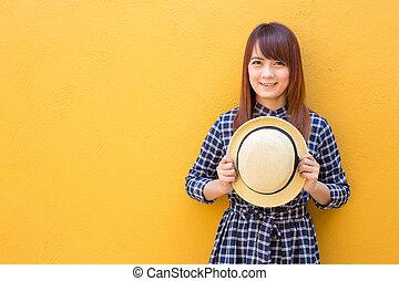 smiling woman wear in dress hand