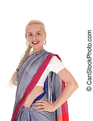 Smiling woman wearing an east Indian dress