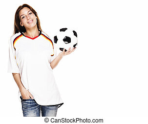 smiling woman wearing football shirt presenting a football on white background