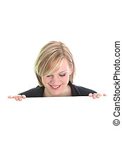 Smiling woman with a white board