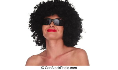 Smiling woman with an afro hair