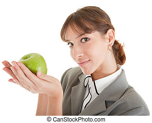 smiling woman with apple