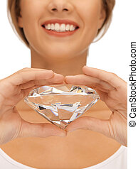 smiling woman with big diamond - bright picture of smiling...