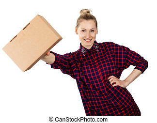 smiling woman with blank cardboard box in hand isolated on white background