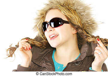Smiling woman with braids in sunglasses