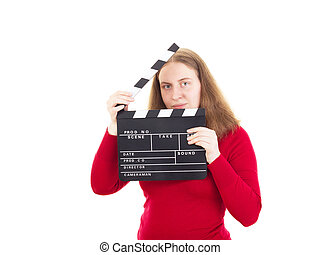Smiling woman with clapperboard in her hands
