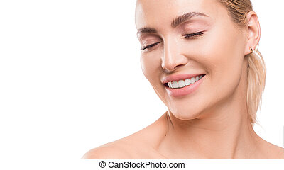 Smiling woman with closed eyes. Dental and spa concept. Skincare. Isolated on white background.