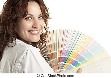 Woman with Color Swatch - Smiling Woman with Color Swatch