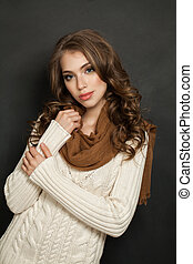 Smiling Woman with Curly Hair, Fashion Photo