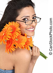 smiling woman with daisy flowers