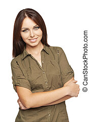 Smiling woman with folded hands