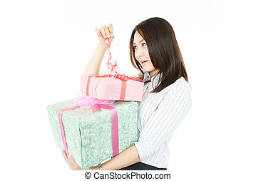Smiling woman with gifts
