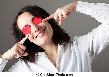 Woman with Hearts on Her Eyes