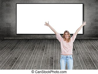 Smiling woman with her arms raised up