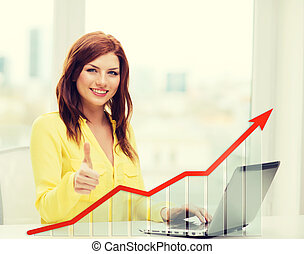 smiling woman with laptop and growth chart - people,...
