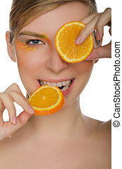 smiling woman with orange