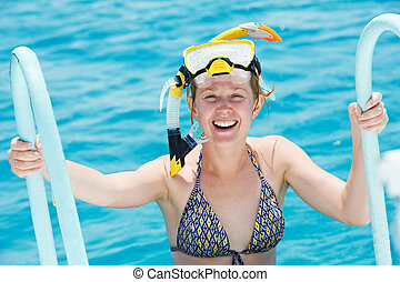 smiling woman with snorkel equipment
