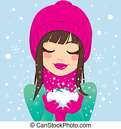 Smiling Woman With Snow