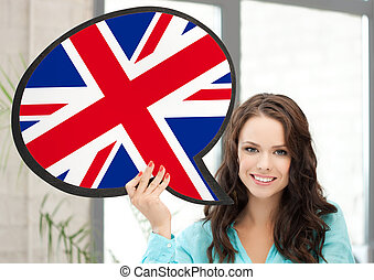 smiling woman with text bubble of british flag - education, ...