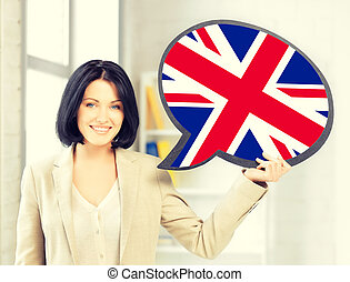 smiling woman with text bubble of british flag