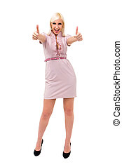 Smiling woman with thumbs up gesture