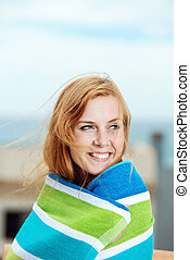 Smiling Woman Wrapped In Bath Towel