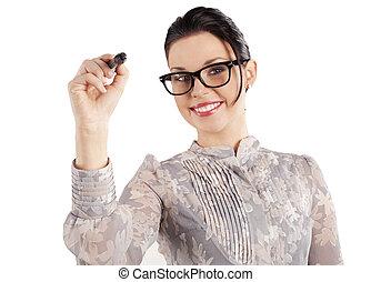 smiling woman writing