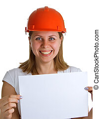 smiling women in a helmet holding a sheet of paper