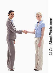 Smiling women shaking hands