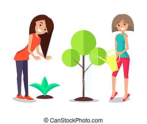 Smiling Women Take Care About Plants Watering Tree - Smiling...
