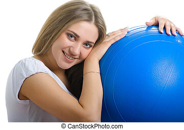 smiling women with blue ball