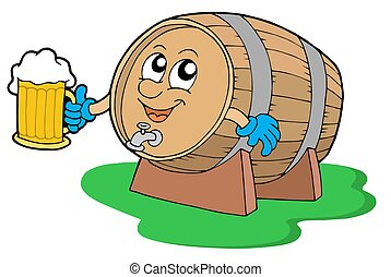 Smiling wooden keg holding beer - isolated illustration.