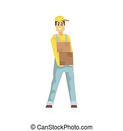 Smiling Worker Holding Two Boxes, Delivery Company Employee Delivering Shipments Illustration