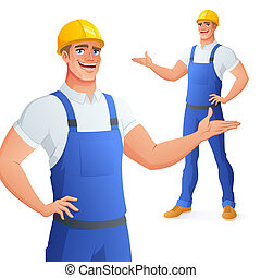 Smiling worker in hard hat presenting. Isolated vector illustration.
