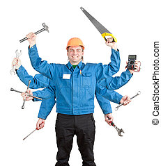 Smiling worker with tools in many hands