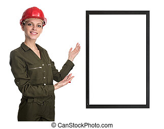 Worker woman showing screen with copy space