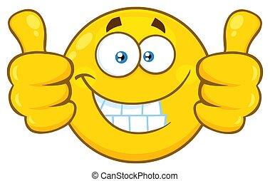 Smiling Yellow Cartoon Emoji Face Character Giving Two ...